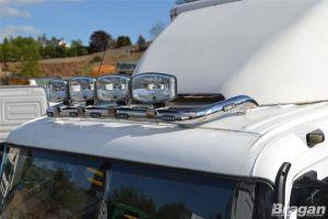 To Fit Mercedes Arocs Classic Low Cab Roof Light Bar B + Jumbo Spots x4 + Clamps + LEDs