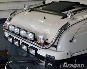 To Fit 2015+ MAN TGX Euro6 XLX Cab Roof Light Bar B + Jumbo Spots + Clear Beacons