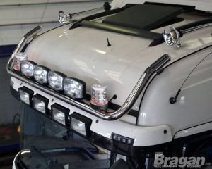 To Fit Pre 2015 MAN TGX XLX Cab Roof Light Bar + Jumbo Spots + Clear Beacons