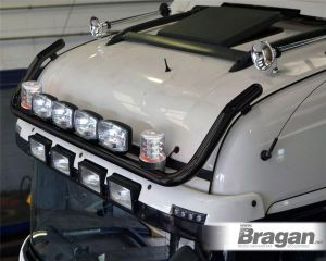To Fit 2012+ Mercedes Actros MP4 BigSpace Cab Front Roof Bar Black Steel + Jumbo Spots + Clear Beacons