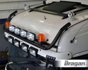 To Fit 2012+ Mercedes Actros MP4 BigSpace Cab Front Roof Bar Black Steel + Jumbo Spots + Amber Beacons
